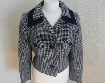 50's / 60's Houndstooth Vintage Jacket by Cresta, Monchrome Cropped Classic Mod Style,  Mad Men, Jackie O, Uk Size 14
