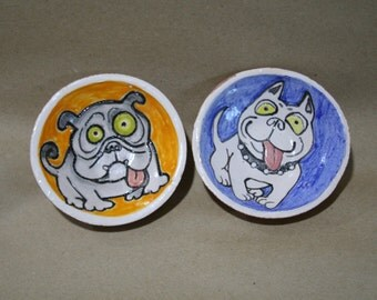 Ceramic plates, plates with dogs Dogs, Ceramic Dogs, breed bull terrier dogs, Pit Bull Terrier, breed bulldog, ceramic bulldog, small plates