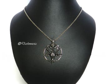 Necklace, baphomet, inverted pentacle, gothic, goth, satanic, occult, satan, devil, satanism