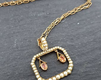 Victorian 9ct Gold Paste & Seed Pearl Necklace