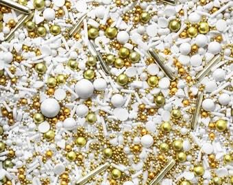 Gold Digger Sprinkle Blend, Wedding Sprinkles, Bridal Sprinkles, White Sprinkles, fancy sprinkles, Edible Sprinkles, gold Sprinkles