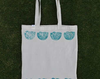 Hand printed floral canvas tote bag