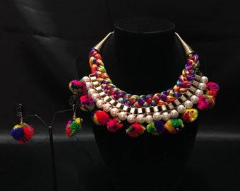 Pom Pom Jewelry - Indian Jewelry - Indian Bridal Jewelry - Kundan Jewelry - Indian Traditional Jewelry - Pakistani Jewelry - Silk Thread Set