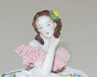 Antique Dresden Volkstedt Lace Lady Porcelain Figurine | Beautiful German Antique Figurine