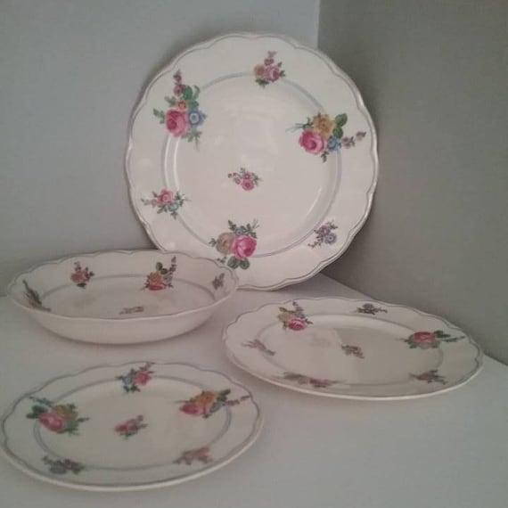 Vintage Grindley England China Sets, 2 Sets Vintage Cream Petal Devonshire Rose Plates and Bowl Settings,  Vintage Grindley Christmas Gift