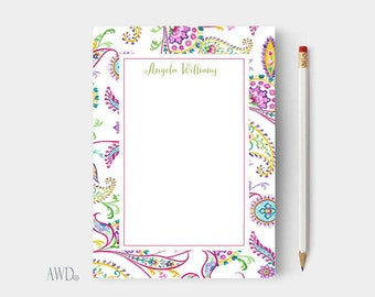 Personalized-Notepads/Paisley print Personalized notepads/Custom Notepads/to do list notepad/writing pad/teacher gift/personalized writing