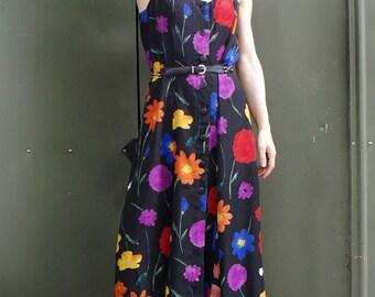 Flower Print Button Down Dress