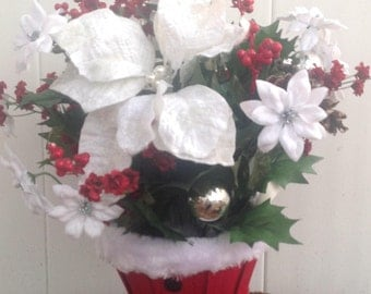 Mrs. Claus Poinsetta Christmas Arrangement