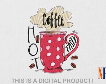 Coffee Cup Boho machine embroidery design for apron and napkins. Machine embroidery designs kitchen. Embroidery file