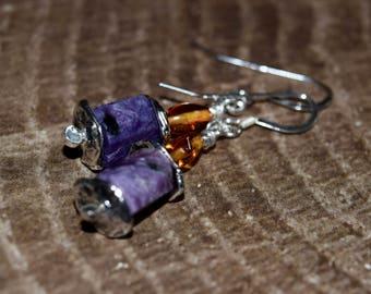 Charoite and Baltic Amber Earrings~Sterling Silver Earrings~ Metaphysical Energy Stones~ OOAK Earrings~