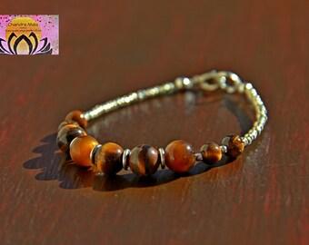 Tigers Eye Silver Bracelet-Gemstone Bracelet-Necklace Bracelet Set-Boho Chic Elegant Jewellery-Clasp-Czech Glass Beads-Gift for her