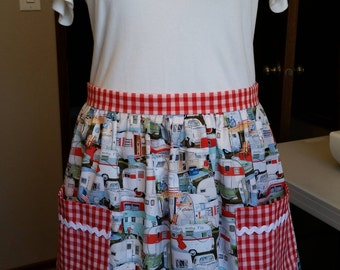 Vintage travel trailer apron with red gingham accents