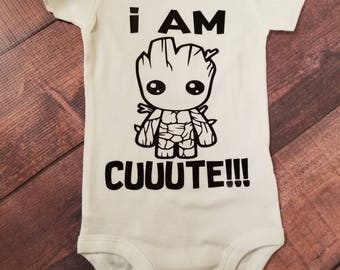 Baby Clothes,  I Am Groot Cute! Bodysuit, Guardians of The Galaxy Top