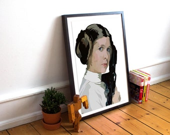 Star Wars INSPIRED Print / Star Wars Poster / Princess Leia / Carrie Fisher / Star Wars / Art Poster Print