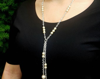 Pearl Station Lariat Necklace