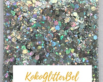 Platinum Silver Holographic Hex Mix Glitter *5 gr 10gr 1 tsp options* Chunky Glitter Solvent Resistant