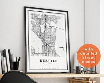 Seattle Map Print, Seattle City Map Print, Seattle Map Art, Seattle Map Poster, Seattle Map Wall Art, Seattle Print, Map of Seattle Wall Art