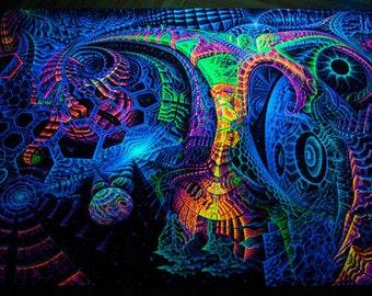 "Fluoro backdrop ""Singularity Microcosma"" Blacklight glow Wallhanging psychedelic fractal tapestry, visionary art decor, Andrew Pronin"