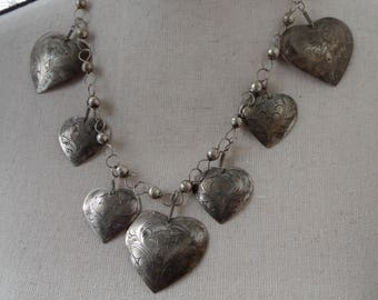 Etched Heart Necklace, Silver Tone Boho Pendant Necklace