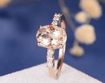 Morganite Engagement Ring Rose Gold Morganite Ring Minimalist  Unique Oval Cut Diamond Eternity Anniversary Promise Bridal Solitaire Ring