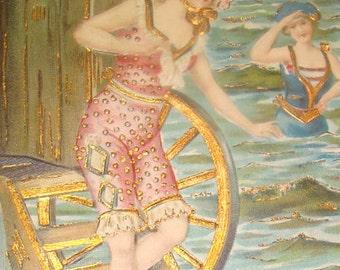 Pretty Bathing Beauties Gold Foil Postcard
