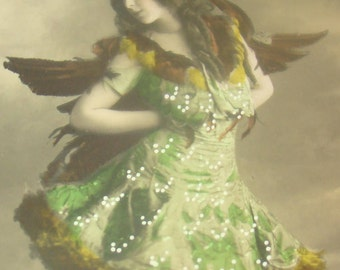 Vintage/Antique, Hand Tinted, Fantasy RPPC (Lady dressed as a bird #2)