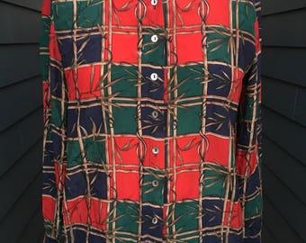 Vintage Silk Blouse // Vintage Blouse // Vintage Printed Blouse // Silk Blouse // Silk Top