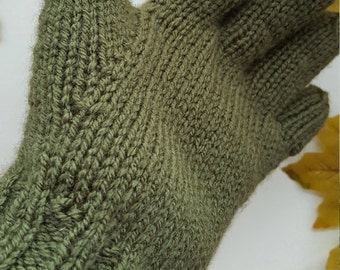 Pair Adult's Green Gloves, Handmade, Hand knitted, Green Italian Acrylic yarn, Gift, Treat, Green Gloves with fingers, Warm, Cosy, Walks.