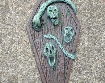 Dark fairy door. Coffin shaped scary fairy door. Halloween ornament/ decoration