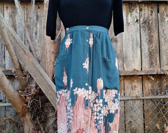 Autumn Teal Floral Maxi 1980s 1990s American Vintage Skirt With Pockets
