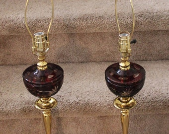 """Pair Vintage Bohemian Crystal Cut to Clear Ruby Brass Lamps 28""""Tall"""