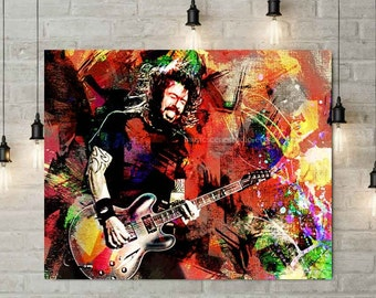 Dave Grohl, Foo Fighters, Dave Grohl Poster, Dave Grohl Print, Foo Fighters Art, Foo Fighters Poster, Guitar Player, Grohl Art, Pop Culture