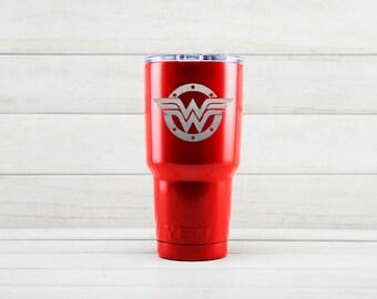Yeti Tumblers Engraved With Wonder Woman Personalized Yeti Tumblers 20 oz Wonder Woman Yeti Gift For Men Wonder Woman Yeti Rambler 30 oz