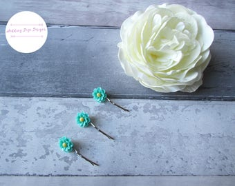 Flower Hair Pins, Flower Hair Pins, Aqua Hair Pins, Girls Hair Accessory, Flower Girl Hair Pins, Wedding Hair Pins, Flower Girl Gift