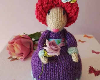 Mouse Doll Knitted, Mouse Gift for her, Home Decoration Stuffed, Art Figurine Rat, Stuffed Animal