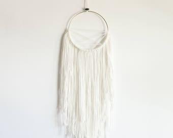 Ivory Modern Dream Catcher,Gift for Her,Boho Chic Wall Decor,Bohemian Wedding,Valentines Day Gift,Baby Shower Gift,Yoga Studio Decor, Dorm