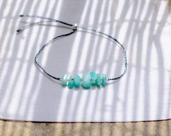 Bracelet AMAZONITE, Argent 925 & Fil Gris Métallisé