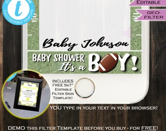 Football Baby Shower Snapchat Geofilter- Baby boy shower Filter- Team Blue It's a Boy Party Personalize Custom Digital INSTANT Self EDITABLE