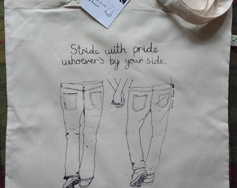Handprinted Organic Cotton tote bag Stride with Pride