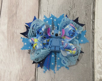 Disney Stitch Lego Figure stacked boutique hair bow, hair accessory, girl bow, hair clip, clip in hair bow, stacked bow, boutique bow