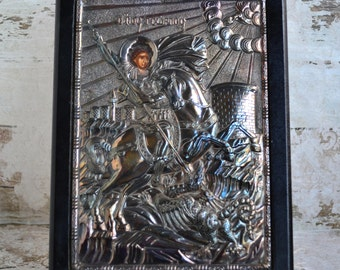 Byzantine icon of Saint George.Handmade Byzantine icon.Silver 950 Greek Orthodox icon.Exact copy of Byzantine art.Home decor.From70's.