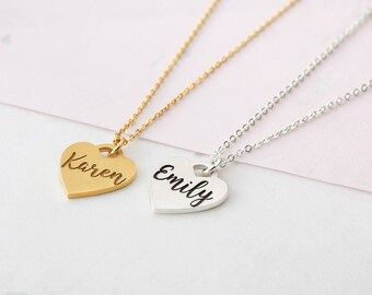 Custom Heart Necklace - Heart Name Necklace - Personalized Necklace - Bridesmaid Gift - Gift for Her