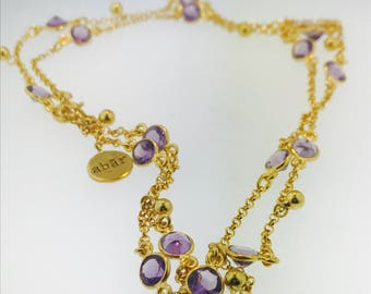 Bezel Natural Gemstone Necklace/ Amethyst Station Necklace/ 30inch Long Chain/Layering Necklace