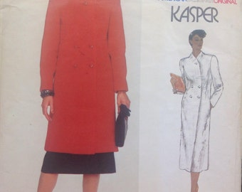 Vogue 2347 Kasper Double Breasted Coat // Dress // Straight Skirt Vintage Sewing Pattern Misses Size 14