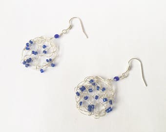 Crocheted Wire Earrings |  Dangle and Drop Earrings | Gifts for Her