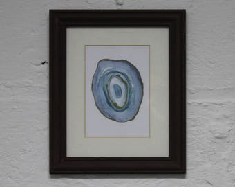 Blue Agate Geode Watercolor Illustration- Original Art Print