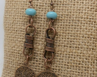 Copper dangle earrings/ bohemian earrings/ boho copper earrings/ Indie style earrings/ metal jewelry/ Tribal beaded earrings/ Gypsy jewelry