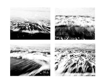 "Black and White Set of four Photographs, Abstract, Sea, Waves, Wall Art Decor, Home Decor, Fine Art Print - ""Sea Waves"""
