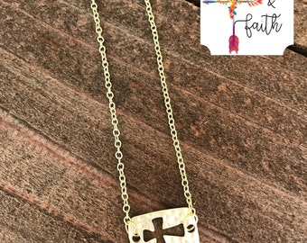 dainty gold hammered cross cutout necklace