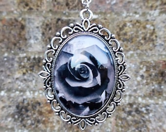 Handmade gothic cameo necklace with original photography of rose